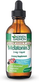 Adrien Gagnon - Liquid Melatonin 3mg, Vegan Melatonin Drops for Calm Sleep Support, Wildberry Flavor, 110 m...