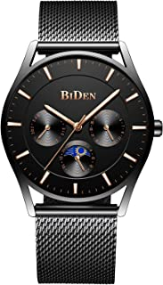 Mens Watches Luxury Chronograph Waterproof Mesh Analogue Quartz Watch with Black Dial Business Date Calendar Moon Phase Fashion Designer Dress Sports Wrist Watches for Men - Black