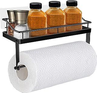 Oriware Adhesivo Portarrollos de Cocina con Estante Soportes de pared Especiero Organizador SUS304 Acero Inoxidable Sin Pe...