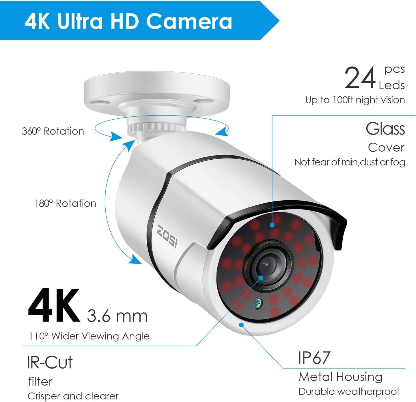 ZOSI 4K 8.0MP Ultra High Definition Security Camera TVI Bullet CCTV Camera for Surveillance System Home Office Using (Renewed)