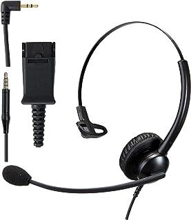 Phone Headset w/ 2.5mm Jack Quick Disconnect Cord for Avaya Cisco Poly com Panasonic Grandstream Cordless DECT Phone Deskp...