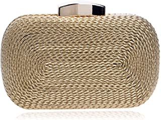Fine Bag/PU Evening Bag Unisex Minimalist Hand Woven Bag Party Rectangular Cell Phone Package Banquet Bag (Color : Gold, Size : One Size)