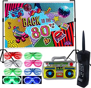 80s Party Backdrop Decoration Supplies Set- Inflatable Retro Mobile Phone Boombox LED Shutter Shading Glasses Party Favors...