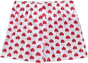 ACSUSS Mens Frilly Satin Boxers Shorts Silk Summer Lounge Halloween Underwear
