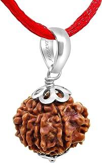 ARIHANT GEMS & JEWELS Certified 7 Mukhi Brown Silver Pendant Nepali Rudraksha for Men and Women