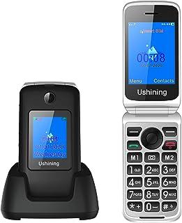 """Ukuu 3G Telefono Cellulare per Anziani con Tasti Grandi 2,8"""" + 1,77"""" Schermo Dual SIM Cellulare Anziani a Conchiglia Volum..."""