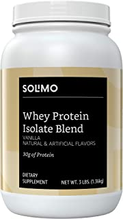 Amazon Brand - Solimo Whey Protein Isolate Blend, Vanilla, 3 Pound Value Size (35 Servings)