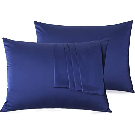 Natural Silk Pillowcase Set of 2 for Hair &Skin - Both Sides 19 Momme 600 Thread Count with Hidden Zipper (Navy Blue, Standard)