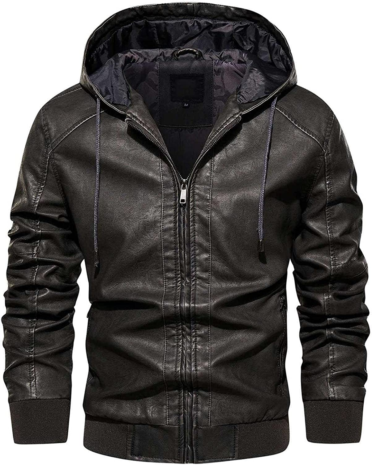 Faux Leather Jackets for Men Solid Full Zipper Hooded Overcoat Vintage Motorcycle Bomber Jacket Warm Winter Coats