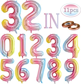 11pcs 32Inch Huge Rainbow Color Gradient Number Helium Balloon,Foil Digital Floating Balloons for Colorful Party Birthday Decorations,0 to 9,Freely Combined,Send a roll of Ribbon.