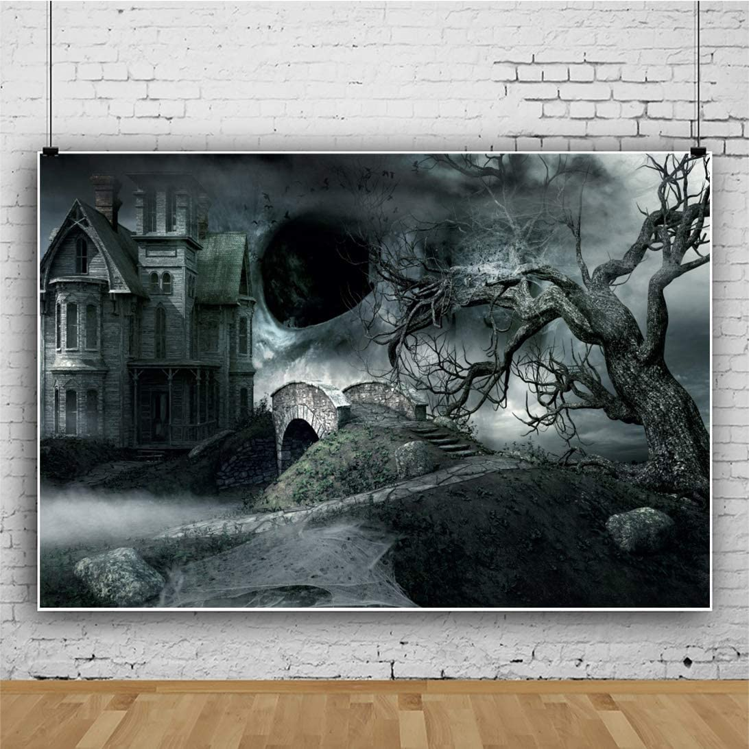 DaShan 12x10ft Horrible Halloween Backdrop Scary Ghost Haunted Castle Witch Wizard Sorcerer Theme Halloween Party Photography Background Bat Bear Tree Misty Creepy Halloween Decor Photo Prop