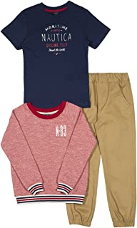 Nautica Boys' French Terry Pullover, Tee and Twill Jogger Set