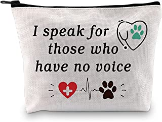 POFULL Veterinarian Makeup Bag Gifts I Speak For Those Who Have No Voice Gift Animal Rescue Gift Veterinary Medicine Gradu...