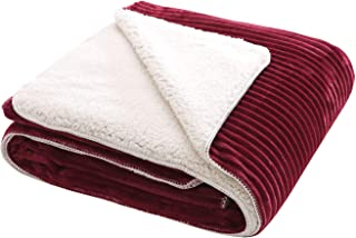 CottonTex Fleece Sherpa Throw 60x80 Inches Double Layer w/Elegant Embossed Stripe, Burgundy