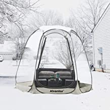 Alvantor Winter Screen House Room Camping Tent Canopy Gazebos 8-12 Person for Patios, Large Oversize Weather Pod, Premium Greenhouse Instant Pop Up Tent, Snow and Rain Protection Beige 10'×10'