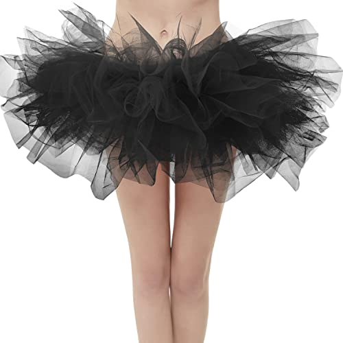 7f14bf53db Dresstore Women's Vintage 5 Layered Tulle Tutu Puffy Ballet Bubble Skirt