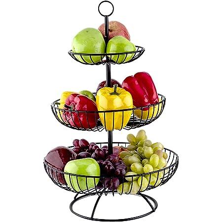 basisago Coupe /à Fruits /à 3 Niveaux,Corbeille a Fruits 3 Etages Porte-Fruits en M/étal Support /à Fruits Maintient Les Fruits et l/égumes Frais Pr/ésentoir /à Fruits Panier /à l/égumes Multicouche