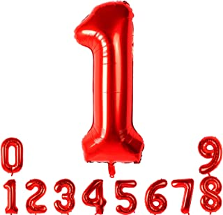 40 Inch Number Balloons Red Number 1 Helium Foil Birthday Party Decorations Digit Balloons