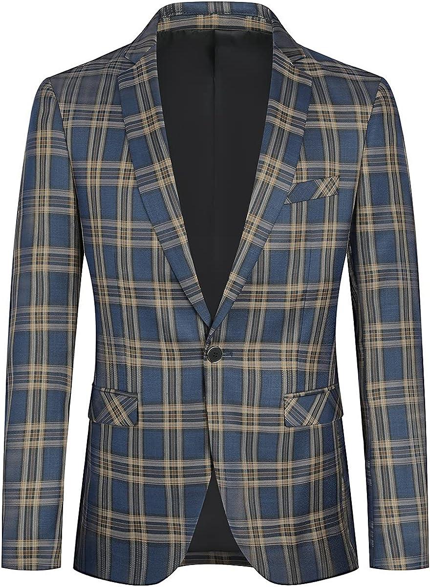 YFFUSHI Mens Slim Fit Suit Blazer Jacket Plaid 1 Button Business Daily Sport Coat