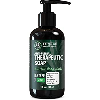 Antifungal Antibacterial Soap & Body Wash - Natural Fungal Treatment with Tea Tree Oil for Jock Itch, Athletes Foot, Body Odor, Nail Fungus, Ringworm, Eczema & Back Acne - For Men and Women - 8oz