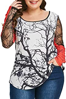 Ausexy Womens Long Sleeve Print Mesh Patchwork T-Shirt Pullover Tops Halloween Cosplay Costumes