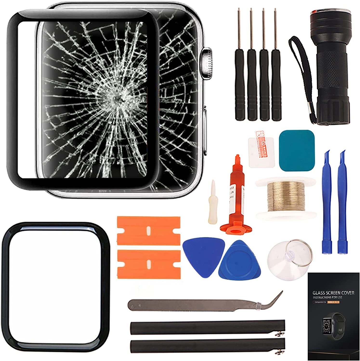 Compatible with Apple Watch 2 Screen Replacement - Front LCD Glass Lens Replacement Repair Kit & Compatible with Apple Watch Series 2 42mm Glass Replacement(No LCD Screen and Touch Digitizer)