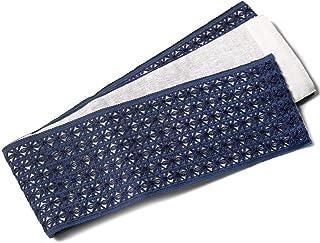 [でぃあじゃぱん] 半幅帯 麻 レース ネイビー 紺 青 ナチュラル リバーシブル 日本製 浴衣 刺繍 夏帯