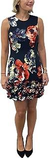 Women's Sleeveless Jewel Neck Floral Print Scuba Dress with Ruffle Hem