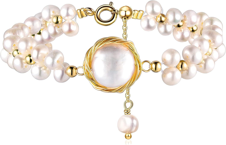 Cowlyn Pearl Bracelet Baroque Culture Strand 18K Gold Handmade Wrap Bangle Chain Dainty Boho Jewelry for Women Girl