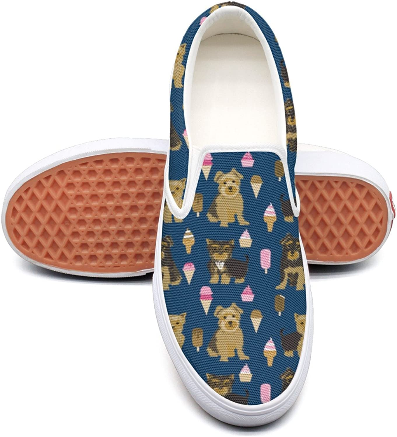 SEERTED Yorkshire Terrier and Ice Cream Repeat Slip On Canvas shoes for Women