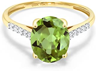 10K Yellow Gold Green Peridot and White Diamond Women's Engagement Ring (3.12 Ct Oval, Available in size 5, 6, 7, 8, 9)
