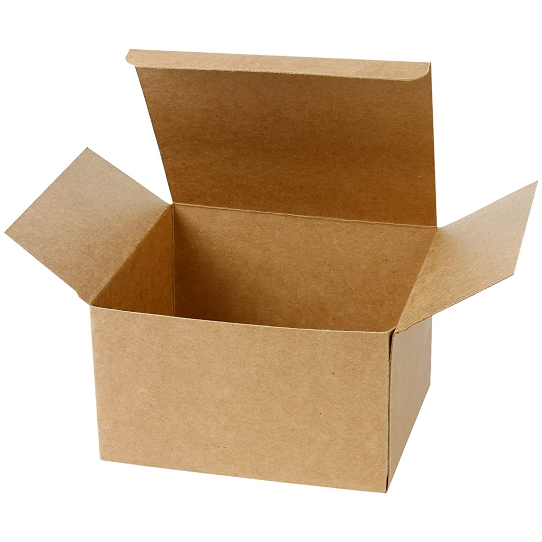 LaRibbons 20Pcs Recycled Gift Boxes - 8 x 8 x 4 inches Brown Paper Box Kraft Cardboard Boxes with Lids for Party, Wedding, Gift Wrap