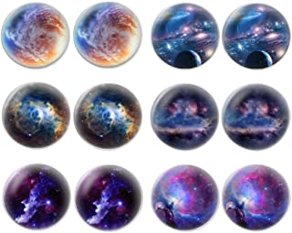 LilMents 6 Pairs of Galaxy Universe Astronomy World Unisex Mens Womens Stainless Steel Stud Earrings