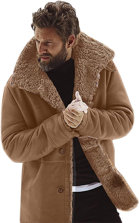 Mens Heavyweight Winter Sherpa Fleece Jackets Button Down Shawl Collar Warm Trench Coats Windbreaker Outwears