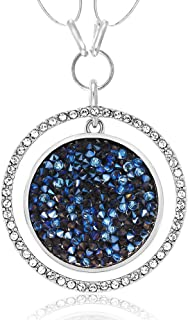 2inches Moonlight Crystal Dust Double Circle Pendant Made with Swarovski Crystals