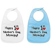 Happy 1st Mothers Day Baby Feeding Bib NB-3yr Touch Attach Unisex Mummy Gift