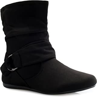 Womens Low Heel Slouch Suede Slip On Casual Ankle Boots with Ring Buckle and Side Zipper