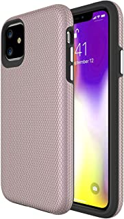 Ownest Compatible iPhone 11 Case (2019) Non-Slip Anti-Fall Dual Layer 2 in 1 Hard PC TPU with Protection Slim Lightweight for iPhone 11 (6.1 Inch)-Rose Gold