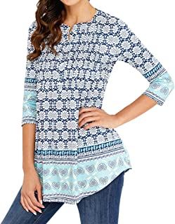 Women's Casual Tunic Blouses Floral Print Pleated Long Fit Tee Shirt Tops with 3/4 Sleeves
