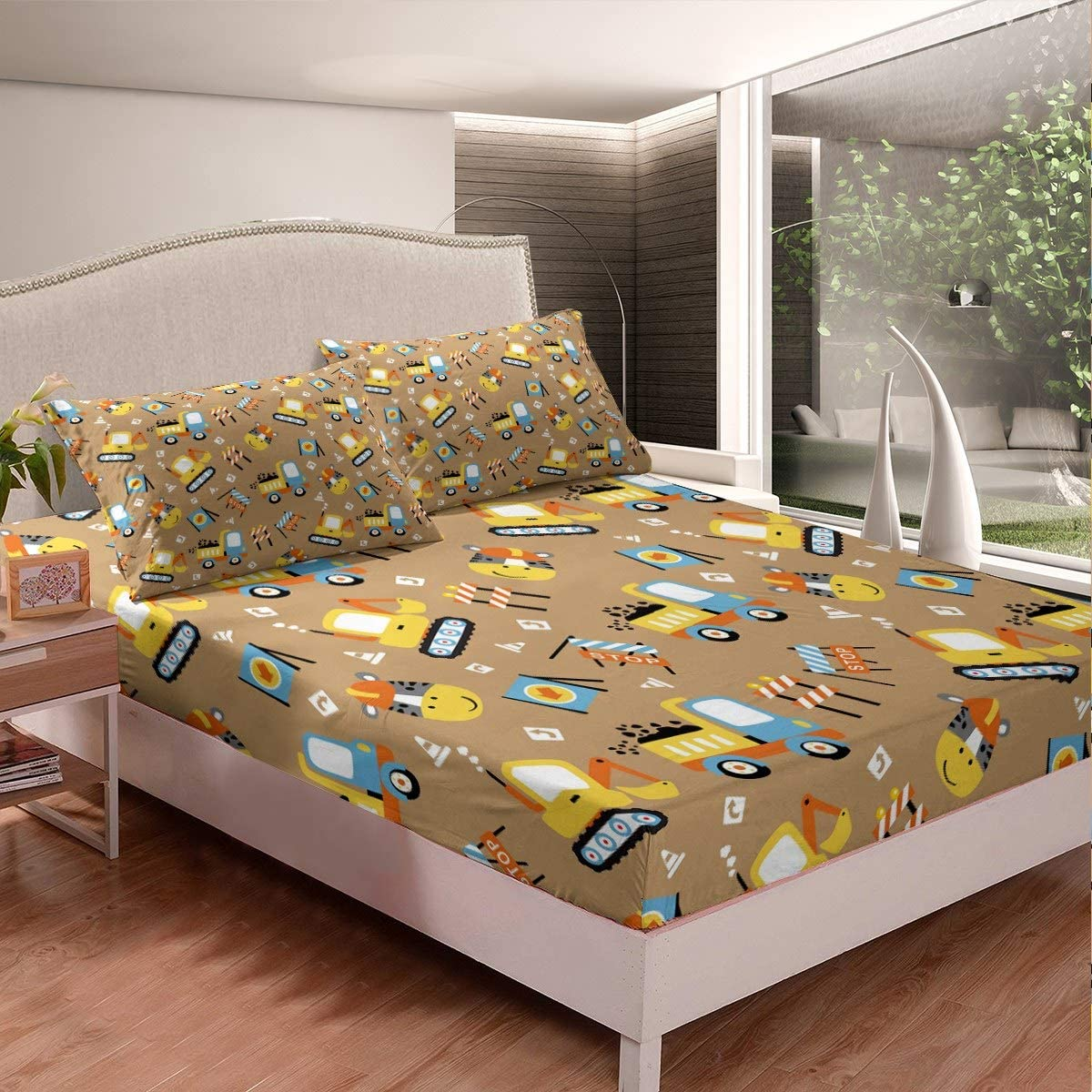 Loussiesd Girls Tokyo Tower Fitted Sheet for Kids Men Women Japan Famous Cityscape Bedding Set Modern City Building Bed Sheet Set Japanese-Style Decor Bed Cover Double Size With 2 Pillow Case