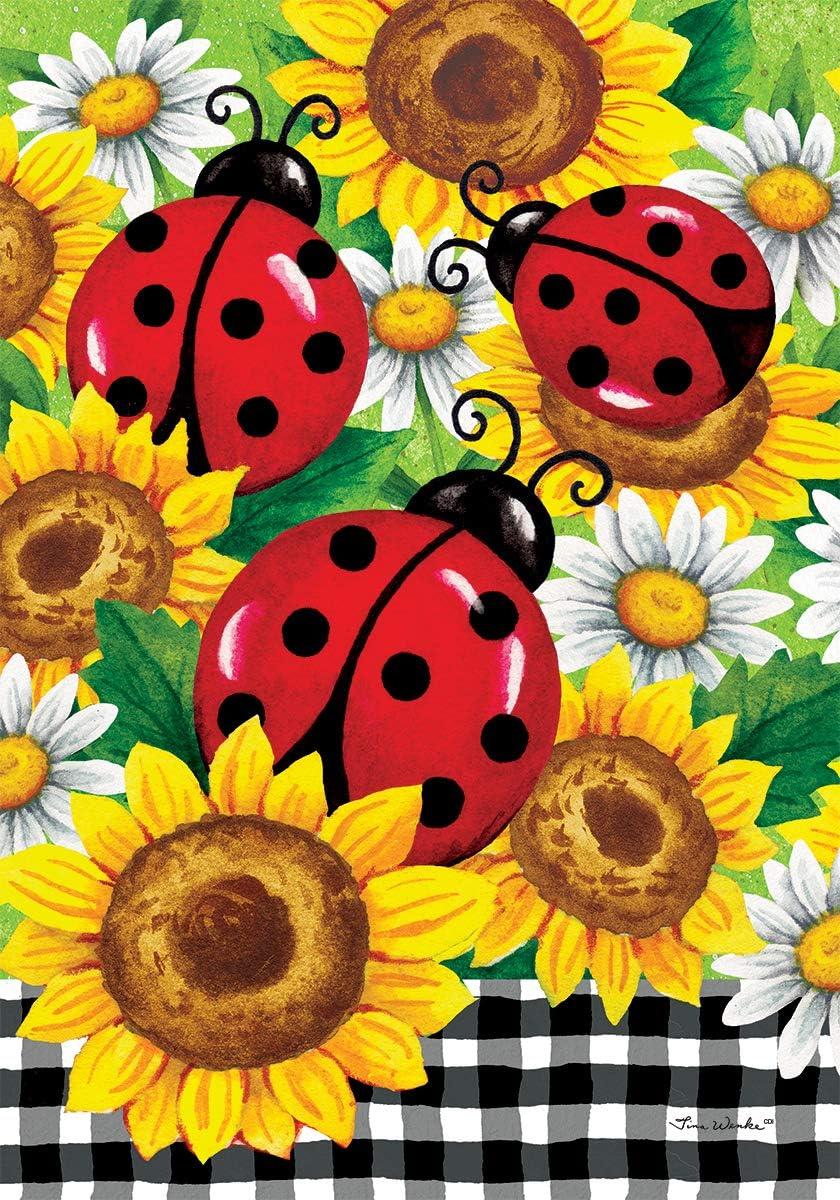 Custom Decor Sunflower Ladybugs - Double Purchase Sales Decorative Garden Size