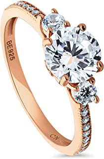 Rose Gold Plated Sterling Silver Round Cubic Zirconia CZ 3-Stone Anniversary Promise Engagement Ring 1.59 CTW