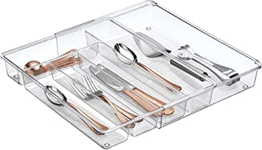 mDesign Adjustable, Expandable Plastic Kitchen Cabinet Drawer Storage Organizer Tray - for Storing Organizing Cutlery, Spo...