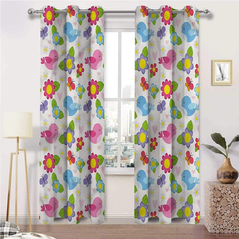 Interestlee Kitchen Curtains Kids Wall Cute safety Grommet Window Drap 5% OFF