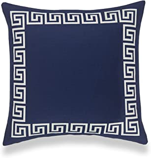 "Hofdeco Coastal Decorative Throw Pillow Cover ONLY, for Couch, Sofa, or Bed, Navy Blue Greek Key, 18""x18"""
