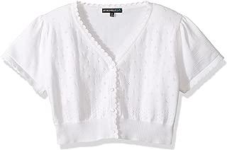 Girls' Short Sleeve Cardigan Sweater, White, S