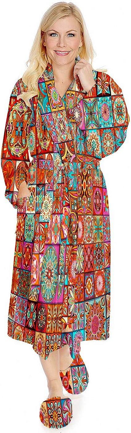 Carpet Pattern Robe,Flannel Keep Warm Sleepwear Long Robe Soft Plush Bathrobes Warm Lightweight Nightgown,Mandalas Vintage Mandala Colorful Patchwork - (Small-Medium-Large)