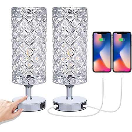 Touch Crystal Bedside Table Lamps Set of 2 with USB Charging Port 3-Way Dimmable Modern Silver Table Lamp E27 Base for Bedroom (12W Bulb Included)