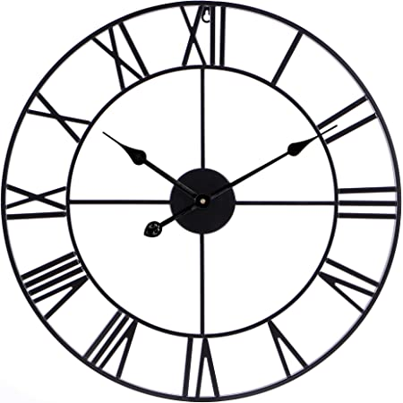 Amazon Com Ruiyif 24 Inch Metal Wall Clock Large Decorative Rustic Farmhouse Oversized Silent Non Ticking Battery Operated Kitchen Bedroom Living Room Wall Clock Large Decorative Black Kitchen Dining