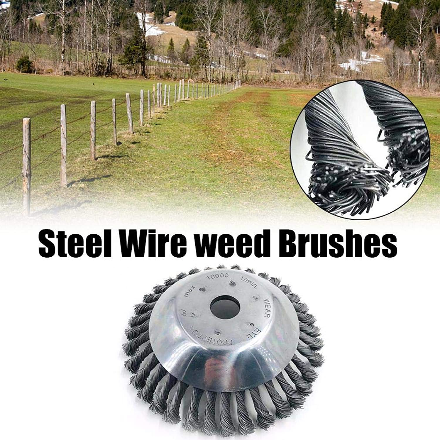 25MM Aperture 8 Inch Steel Wire Weeding Brush Twisted Wire Bowl.